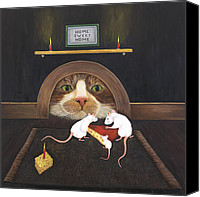 Pet Photography Painting Canvas Prints - Mouse House Canvas Print by Karen Zuk Rosenblatt