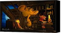 Cartoon Canvas Prints - Mouse In The Attic Canvas Print by Bob Orsillo
