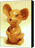 Woodcarving Sculpture Canvas Prints - Mouse Canvas Print by Russell Ellingsworth