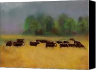 Cattle Pastels Canvas Prints - Moving on Canvas Print by Frances Marino