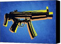 Gun Canvas Prints - MP5 Sub Machine Gun on Blue Canvas Print by Michael Tompsett