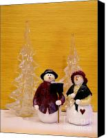 Background Gold Canvas Prints - Mr and Mrs Snowman Canvas Print by Marsha Heiken