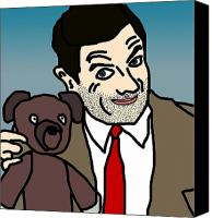 Tv Show Canvas Prints - Mr Bean and Teddy Canvas Print by Jera Sky