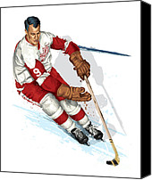 Skates Canvas Prints - Mr Hockey Gordie Howe Canvas Print by David E Wilkinson