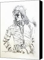 Celebrities Drawings Canvas Prints - Mr. Jackson Canvas Print by David Lloyd Glover