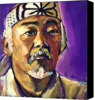 Kid Painting Canvas Prints - Mr Miyagi Canvas Print by Buffalo Bonker