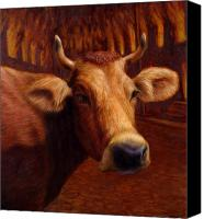 Brown Painting Canvas Prints - Mrs. OLearys Cow Canvas Print by James W Johnson
