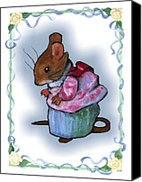 Mouse Pastels Canvas Prints - Mrs Tittlemouse After Beatrix Potter Canvas Print by Joyce Geleynse