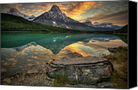 Mountain Scene Canvas Prints - Mt Chephren Sunset Canvas Print by Howard Kilgour