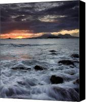 Volcano Canvas Prints - Mt. Edgecumbe Sunset Canvas Print by Mike  Dawson