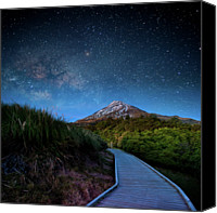 Star Canvas Prints - Mt. Ekmond At Night With Starlight Canvas Print by Coolbiere Photograph