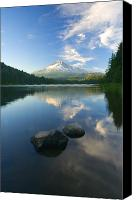 Lake Canvas Prints - Mt. Hood Cirrus Explosion Canvas Print by Mike  Dawson