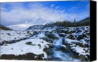 Waterfall Canvas Prints - Mt. Hood Morning Canvas Print by Mike  Dawson