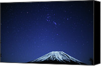 Mountains Canvas Prints - Mt.fuji And Winter Stars Canvas Print by Takeshi.K