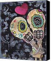 Tattoo Canvas Prints - Muertos de Amor Canvas Print by  Abril Andrade Griffith