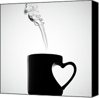Coffee Cup Canvas Prints - Mug Of Coffee With Handle Of Heart Shape Canvas Print by Saulgranda