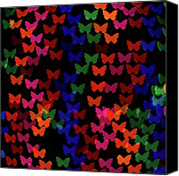Gulf Coast States Canvas Prints - Multi Colored Butterfly Shaped Lights Canvas Print by Lotus Carroll