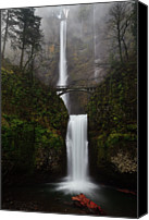 Waterfall Canvas Prints - Multnomah Fall Canvas Print by Helminadia