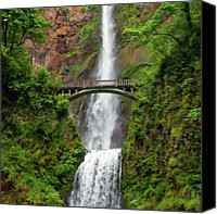 Arch Bridge Canvas Prints - Multnomah Falls Canvas Print by Crady von Pawlak