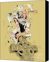 Evil Canvas Prints - Mummy on cross Canvas Print by Aloysius Patrimonio