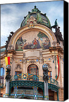 Prague Digital Art Canvas Prints - Municipal House-Prague Canvas Print by John Galbo
