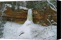 Michigan Waterfalls Canvas Prints - Munising Falls Frozen Canvas Print by Michael Peychich