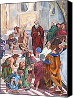 Vatican Painting Canvas Prints - Mural after Raphael - Part 3 Canvas Print by Becky Kim