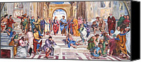 Vatican Painting Canvas Prints - Mural after Raphael Canvas Print by Becky Kim
