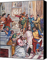 Vatican Painting Canvas Prints - Mural after Raphael-part 1 Canvas Print by Becky Kim