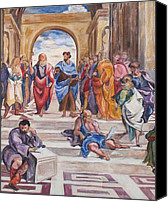 Vatican Painting Canvas Prints - Mural After Raphael- Part 2 Canvas Print by Becky Kim