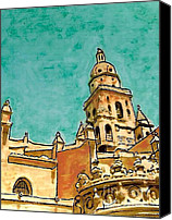 Spirituality Mixed Media Canvas Prints - Murcia Cathedral Canvas Print by Sarah Loft