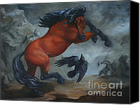 Wild Horse Canvas Prints - Murder of Crows Canvas Print by Lisa Phillips Owens