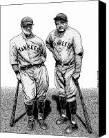 Babe Ruth Drawings Canvas Prints - Murderers Row Canvas Print by Bruce Kay