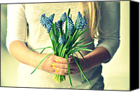 Adults Only Canvas Prints - Muscari In Womans Hands Canvas Print by Photo by Ira Heuvelman-Dobrolyubova