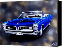 Gto Painting Canvas Prints - Muscle Car 6T7-GTO Canvas Print by Debbie LaFrance