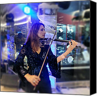 Violin Canvas Prints - #music At The #mall #violin #música Canvas Print by Idrialis Castillo