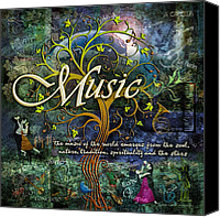 Music Tapestries Textiles Canvas Prints - Music Canvas Print by Evie Cook