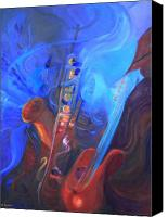 Saxaphone Painting Canvas Prints - Music for Saxy Canvas Print by Gail Salituri