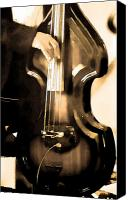 Orchestra Digital Art Canvas Prints - Music Man Bass Violin Canvas Print by Linda  Parker