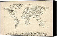 Map Canvas Prints - Music Notes Map of the World Map Canvas Print by Michael Tompsett