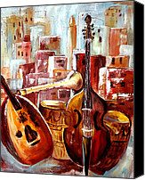 Moroccan Painting Canvas Prints - Music of Morocco Canvas Print by Patricia Rachidi