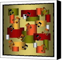 All Canvas Prints - Music Series Golden Notes Abstract Canvas Print by Terry Mulligan