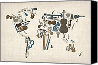 Map Of The World Digital Art Canvas Prints - Musical Instruments Map of the World Map Canvas Print by Michael Tompsett