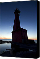 Marquette Digital Art Canvas Prints - Muskegon Lighthouse Canvas Print by Joe Gee