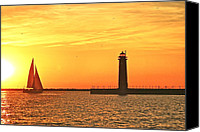 Setting Sun Canvas Prints - Muskegon Sunset Canvas Print by Michael Peychich