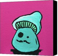Mushroom Mixed Media Canvas Prints - Mustache Zombie Mushroom Canvas Print by Jera Sky