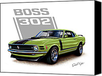 Boss Digital Art Canvas Prints - Mustang Boss 302 Grabber Green Canvas Print by David Kyte