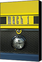 Photographs Canvas Prints - Mustang Mach 1 Emblem 2 Canvas Print by Jill Reger