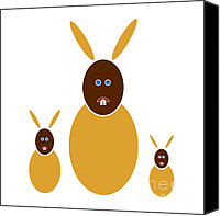 Color Drawings Canvas Prints - Mustard Bunnies Canvas Print by Frank Tschakert