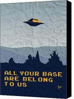 Tv Show Canvas Prints - My All your base are belong to us meets x-files I want to believe poster  Canvas Print by Chungkong Art